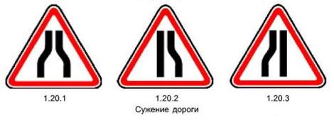 Как выглядит и что обозначает знак Сужение дороги