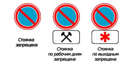 Зона действия знака запрета стоянки