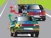 Объезд препятствия слева и справа с соблюдением ПДД