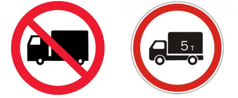 Знаки, запрещающие проезд грузового транспорта